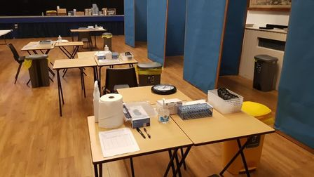 Testing booth Coopers' Company and Coborn School