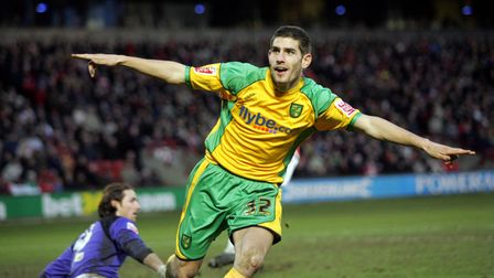 London - Saturday, January 12th, 2008: Ched Evans of Norwich City celebrates his goal to equalise du