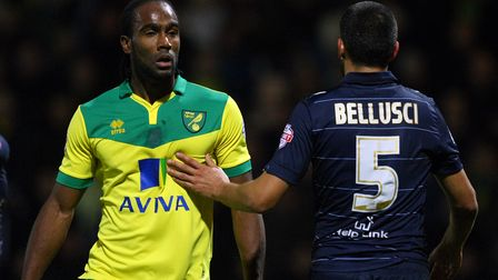 Cameron Jerome of Norwich and Giuseppe Bellusci of Leeds United