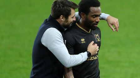 MK Dons manager Russell Martin and Cameron Jerome, former Norwich City players