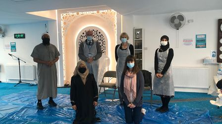 Maulana Muhit and Raihaanah Ahmed along with the clinical team at London Colney Islamic Centre