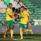 Przemyslaw Placheta of Norwich celebrates after scoring against Preston