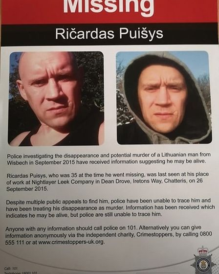 Suspected murder victim Ricardas Puisys has been found alive in Wisbech, police have revealed. Pictu