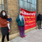 School picket outside Leaways School in Hackney.