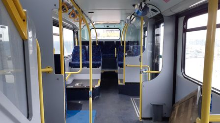 Interior of new Hackney Playbus to be renovated.