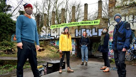 Members of the Haringey CEE Bill Alliance hung a banner in theParkland Walk as part of a nationwide awareness campaign