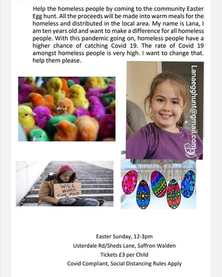Lana Halil, 10, is organising an egg hunt on Easter Sunday to cheer up the Saffron Walden community and help the homeless