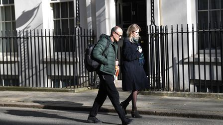 Prime Minister Boris Johnson's key adviser Dominic Cummings and his assistant Cleo Watson arrive in Downing Street