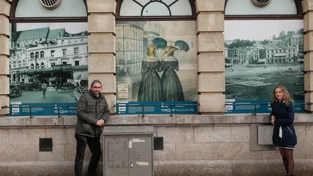 Barry Chandler and Veronika Valigurska, of Torquay Museum, with TheAlphingtonPonies back on The Strand.