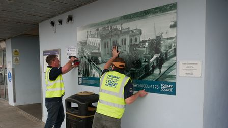 Theinstallation of the Marine Spa graphic by Torbay Direct printers.