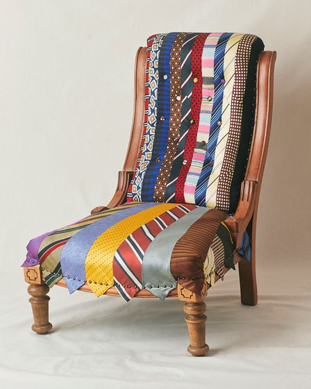 Another project upcycled an old chair with the client's ties
