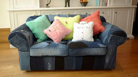 Elizabeth transformed an old sofa with the family's thrown away jeans