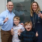 Fenny Bridges couple Andy and Claire Taylor with their sons Jack, aged eight, and Archie, five