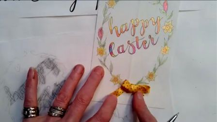 Jane Lappage from Calligraphy Arts showed Elsenham WI how to do 'faux calligraphy'