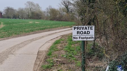 A sign marking a private road on the outskirts of Saffron Walden