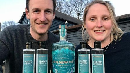 Rupert and Emily Robertson are producing hand sanitiser at their gin disillery at Abbots Ripton.