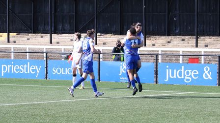 Wealdstone celebrate Connor Smith's goal against Bromley at Hayes Lane