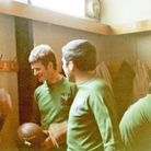 Brian Carter and George Loye in the dressing room before the match.