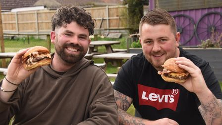 Jack Baldry, left, and Jake Armes, with a couple of their classic frazzle Beasty Boys burgers. Pictu