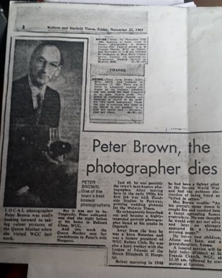A cutting from when Peter Corin Brown died in November 1983.