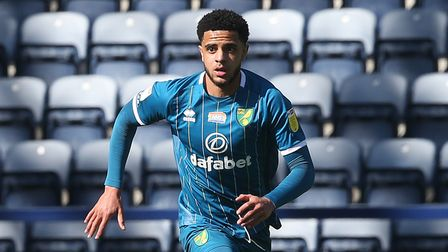 Andrew Omobamidele of Norwich in action during the Sky Bet Championship match at Deepdale, PrestonP