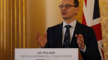 Polish Prime Minister Mateusz Morawiecki during a press conference following the UK-Poland Inter-Gov