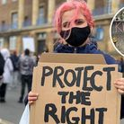 Woman with pink hair at kill the bill protest in Norwich