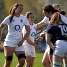 England's Helena Rowland (centre left) celebrates scoring their sixth try against Scotland