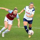 West Ham United's Martha Thomas (left) in action against Tottenham Hotspur earlier this season