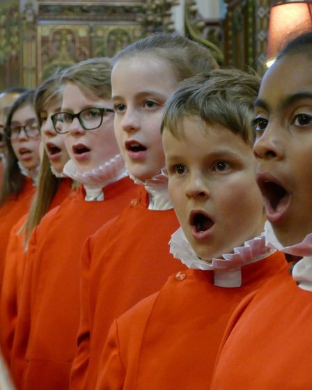 Choristers in full song at Ipswich St Mary le Tower church