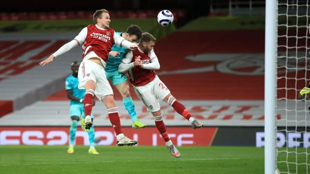 Liverpool's Diogo Jota scores their first goal against Arsenal at The Emirates Stadium