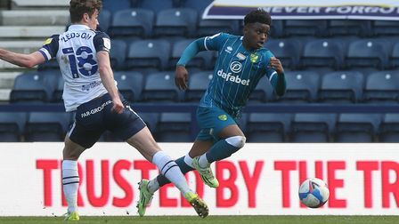 Ryan Ledson of Preston North End and Bali Mumba of Norwich in action during the Sky Bet Championship