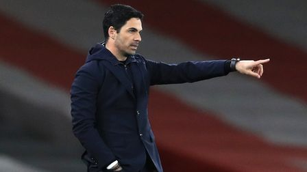 Arsenal manager Mikel Arteta gestures during the Premier League match against Liverpool at The Emirates Stadium