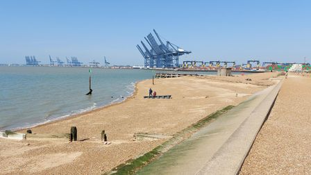 Sunny Felixstowe was a destination for walkers on Easter Sunday