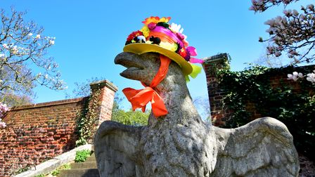 Easter-themed characters includedthe eagle statues in Easter bonnets