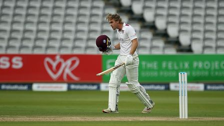 Somerset's Tom Lammonby celebrates making a century during the Bob Willis Trophy Final at Lord's