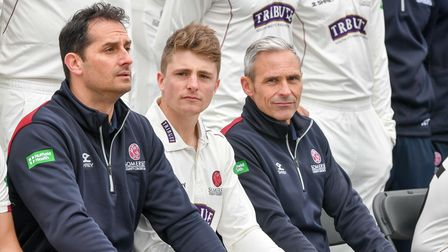 Somerset's Jason Kerr, Tom Abell and Andy Hurry at the County Ground, Taunton