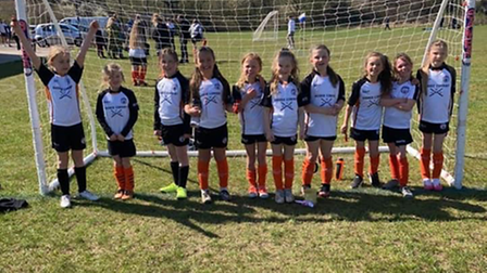 Portishead Girls' under-eights face the camera