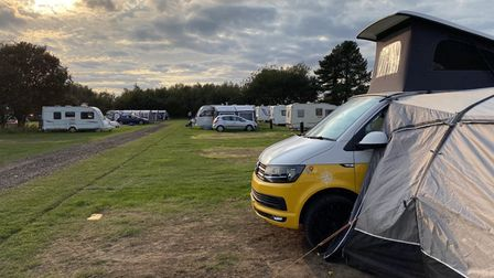 A view of the camping site at Kelling Heath
