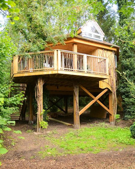 One of the tree houses at West Lexham