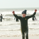 Brian Watts celebrating his 90th birthday on Combesgate Beach