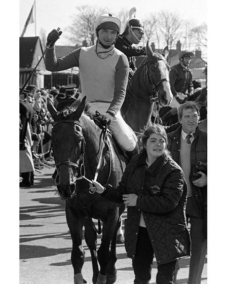 Jimmy Frost being led in on Little Polveir after winning the Grand National in 1989.