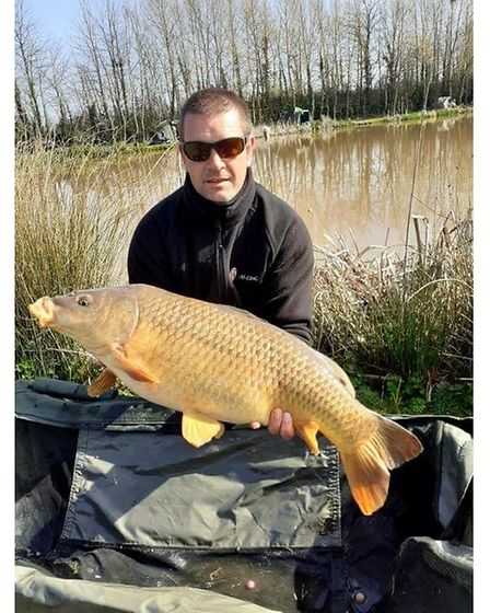 Dan Brown with a 20lbs+common carp from Upham Farm