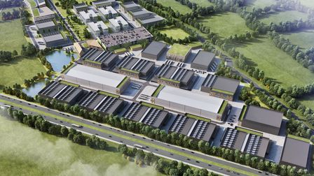A schematic CGI of the proposed 21 stage Hertswood Studios site bordering the A1 in Borehamwood.