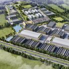 A schematic CGI of the proposed 21 stageHertswood Studios site bordering the A1 in Borehamwood.