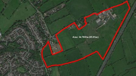 A map of the proposed Hertswood Studios site that has been put forward as a potential site for employment in Hertsmere.