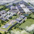 A schematic CGI of the proposed Hertswood Studios film and TV studios.