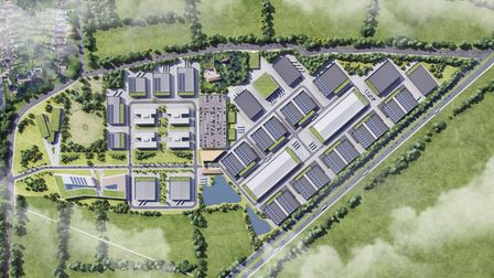 An aerial view of the proposed Hertswood Studios site between Rowley Lane and the A1.
