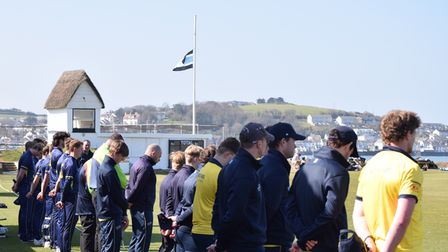 Players from Devon and Clevedon observed a minute's silence prior to their game atNorth Devon CC's Instow ground