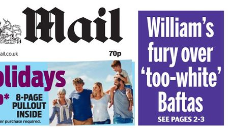 A Daily Mail masthead shows a typical white family